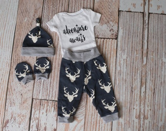 Newborn Coming Home Baby Deer Antlers/Horns Bodysuit, Hat, Scratch Mittens Set with Grey and Navy+ Adventure Awaits with arrow Bodysuit