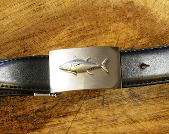 Tuna Fish Pewter Buckle and Leather Belt Set Ideal Fishing Gift