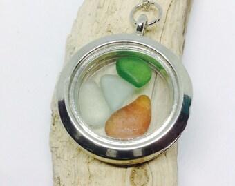 Sea Glass Necklace Locket, Sea Glass Pendant, Sea Glass, Sea Glass Jewellery, Sea Glass Jewelry, Glass Necklace, Beach Jewellery,