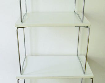 Vintage set of nesting tables 1960s dutch design mid century, white formica and chrome, Tomado era, attributed to Brabantia