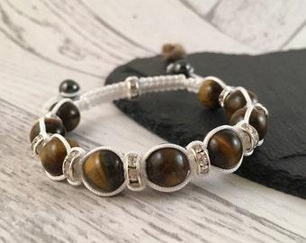 Tiger Eye Macramé Bracelet, Gemstone Bracelet, Beaded Bracelet, Semi Precious Jewellery