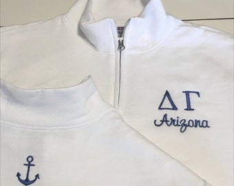 Custom Greek Letter Sorority 1/4 Zip Jacket Alpha Phi Kappa Kappa Gamma Alpha Chi Omega Sigma Kappa