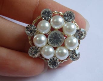 2 crystal buttons pearl rhinestone diamante upholstery gold UK JC12
