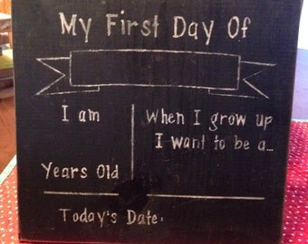 My first Day of chalkboard display school preschool kindergarten rustic kids board sign gift boy girl teacher