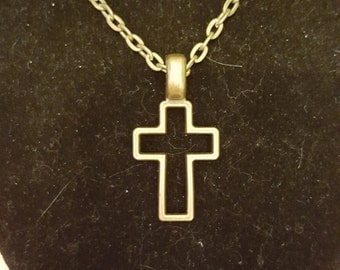 Large Antique Bronze Cross Pendant on Antique Bronze 19 inch Chain with Toggle Clasp