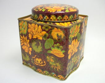 Vintage 60s 70s Daher Litho Enamel Tea Tin Canister - Fall Floral