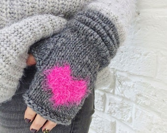 Grey Fluffy Heart Alpaca and Wool Fingerless Gloves Mittens - ready to ship - FREE DELIVERY