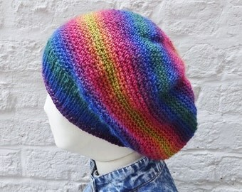 Large Rainbow Slouchy Hat, Oversize Multicolour Crochet Beanie - ready to ship - FREE DELIVERY