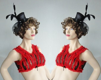 Black Red 70s Bralette/Cropped Top With Ruffles