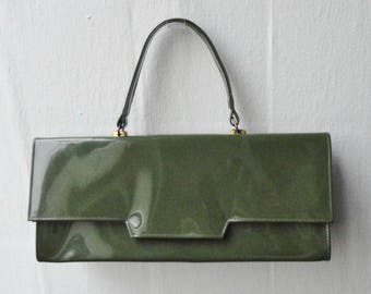 60s Green Patent Leather Vtg Hand Bag // Golden Closure