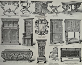 Old furniture print. Cabinetmaking. Carpentry. Old book plate, 1904. Antique  illustration. 112 years lithograph. 9'6 x  11'9 inches.