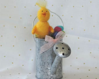 Unique spring chick in watering can, needle felted chick, spring decoration, Easter decor, Easter gift, chick and eggs, Easter eggs, yellow
