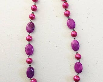 """17"""" pink agate and pearl necklace"""