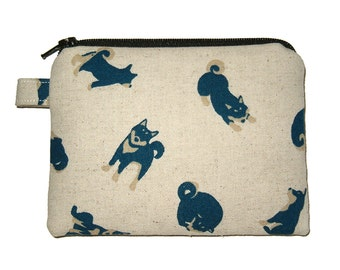 Shiba Inu Zipper Pouch - Small Coin Purse - Padded Pouch - Dog Purse - Kawaii Purse - Shiba Inu Purse