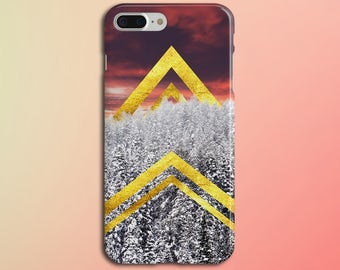 Hidden Golden Chevrons x Winter Tree Sunset Phone Case, iPhone X, Rubber iPhone Case, Galaxy s8 Samsung Galaxy Edge Case Nature CASE ESCAPE