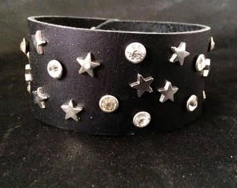 Night Sky Leather Wrist Cuff Covered In Crystal And Star Studs