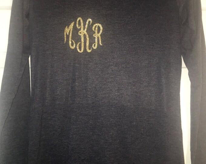 Monogrammed shirt . Long sleeve Holiday shirt . Monogram wide neck shirt - glitter three letter monogram- silver, hot pink, aqua blue, gold