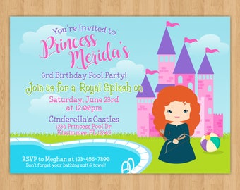 Princess Merida Pool Party Birthday Invitation