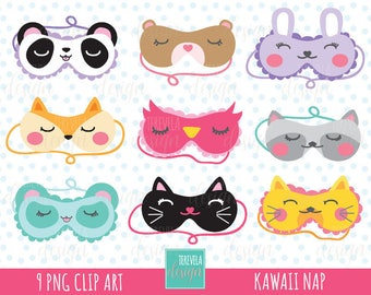50% OFF Sleeping mask clipart, nap clipart, commercial use, pijama party graphics, kawaii clipart, cute graphics, party printable