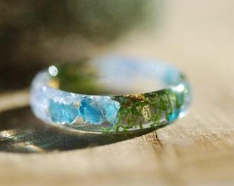Blue Sapphire Ring, Gemstone Ring, Crystal Resin Ring, September Birthstone Ring, Stone Blue Apatite Ring, Terrarium Ring, Nature Ring