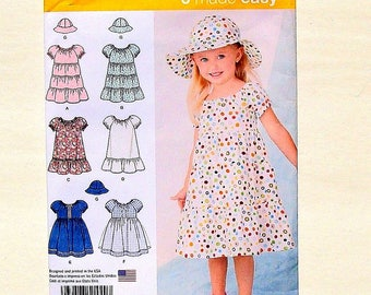 Simplicity Toddler's Dress & Hat Sewing Pattern #1449 - UNCUT - Size 6 mo+1+2