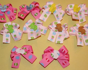 10 SM-MED Decorated Easter Dog Bows Top quality ribbons handmade in the USA