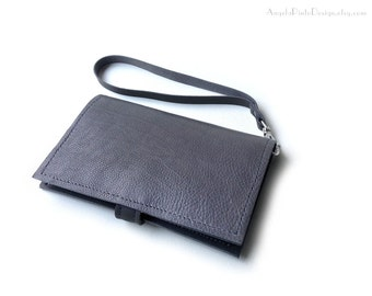 Wristlet Cell Phone Wallet for him and her. Grey Leather Wallet with detachable lanyard. Minimalist Coin purse wallet. Minimalist wallet.