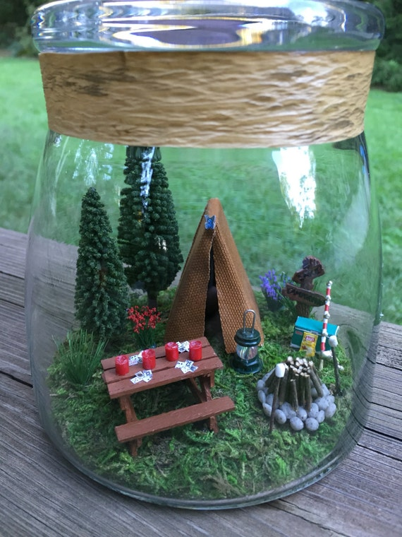Miniature Camping Scene With Tent And Picnic Table In Large