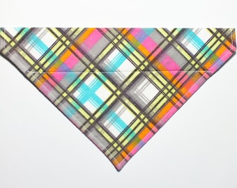 Pink Plaid Flannel Dog Bandana, Dog Scarf, no tie bandana, slip on bandana, pet bandana, doggy scarf , scarf for dogs