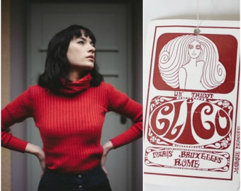 70's DEADSTOCK turtleneck top sweater hippie mod