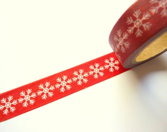 White Snowflakes on Red Washi Tape 15mm x 7m
