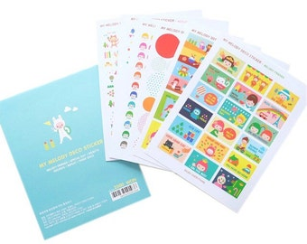 Set of 6 Kawaii Cute and Colorfoul Stickers for Scrapbooking and Planners My Melody Deco Sticker