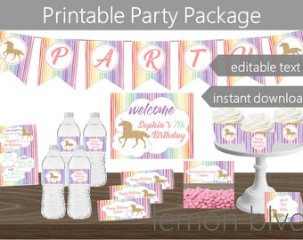 Unicorn Party Printables Package   Unicorn Instant Digital Download   Editable Text   Unicorn Glitter Party Decorations   Unicorn Party