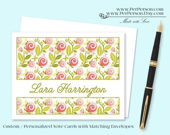 Free Ship!  Set of 12 Personalized / Custom Notecards, Boxed, Blank Inside, Floral, Flowers, Swirl Roses, Pink, Green, Monogram, Name