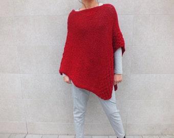 Red Poncho, knit wool poncho, women poncho