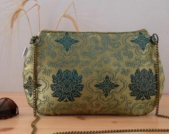 Golden clutch,green clutch,oriental print,oriental purse,chinese clutch,yellow bag,silk clutch,silk bag,oriental fabric,hindu clutch,hippie