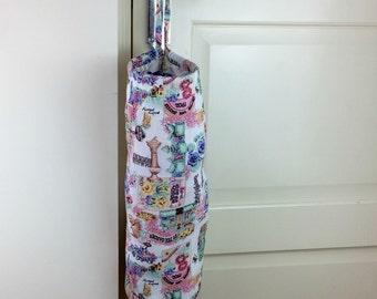 Grocery Plastic bag holder, Fabric storage, Gardening theme in Pink Bag Dispenser