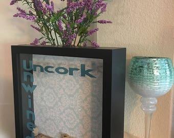 18x24 Wine Cork Holder  Monogrammed Shadow Box Display