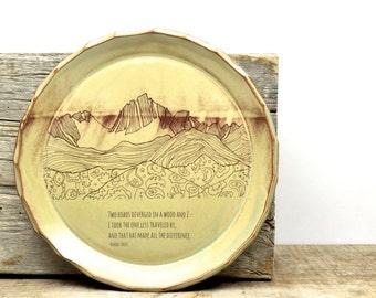 Mountain lover poetry plate. Robert Frost The Road Not Taken poem. Original mountain illustration. Inspiration art. hiker plate.  IN STOCK