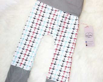 Anchor Grow With Me Pants, Nautical Baby Clothes, Hipster Baby Maxaloones
