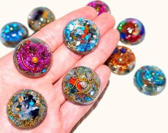 Smile  energy handmade Orgonite reiki ornament round face PHOENIX YOGA HEALTH crystals stone metal