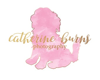 Pet Photography logo - Watercolor Logo - Photography logo - Custom Premade Logo - Dog Lab Logo Watermark- Business Logo Pink Watercolor Logo