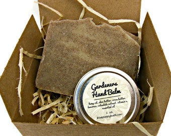 Gardeners Gift Set, Gardener Soap & Hand Balm, Garden Gift Box, Hemp Oil Balm, Co-Worker Gift, Gift for Dad, Teacher Gift