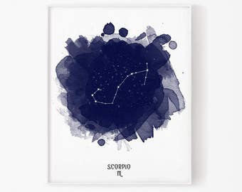 Scorpio Constellation, Scorpio zodiac, Zodiac Constellation, Stars constellation, Astronomy Watercolor, Printable poster, Digital print