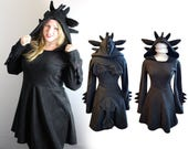 Toothless inspired black dragon cosplay dress