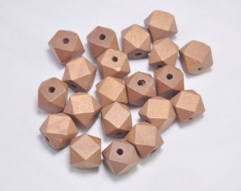 20pcs Brown Geometric Wood Beads,Hand Painted wood Beads 15mm,Polygonal,DIY Geometric necklace/ keyring,Make jewellery for selling