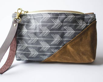 Gray Waxed Canvas / Arrow Bag / Wristlet / Leather Wrist Strap / Zippered Pouch / Cosmetic Bag / Pencil Case / Gifts For Her