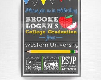 School Teacher College Graduation Party Printable Invitation YOU Print Chalkboard Pencils Apple Student Teacher