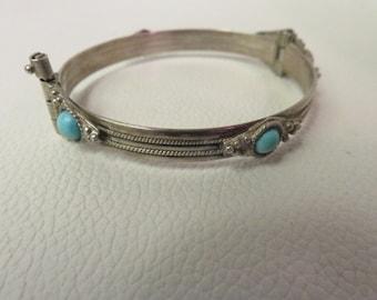 Vintage Sterling Silver Bangle Bracelet with Blue Stones 17.1g