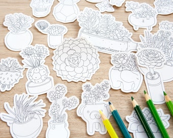 Succulent plants coloring stickers, 23 stickers, succulent laptop stickers, planner stickers, scrap booking, adult coloring, plants, cactus